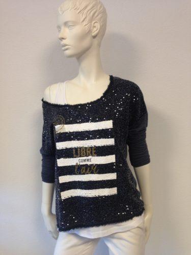Au Soleil de St. Tropez - Shirt mit Pailletten und Aufdruck