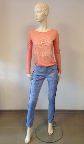 Barbone - INA Hose mit Seiten-Streifen und Schmetterling-Print